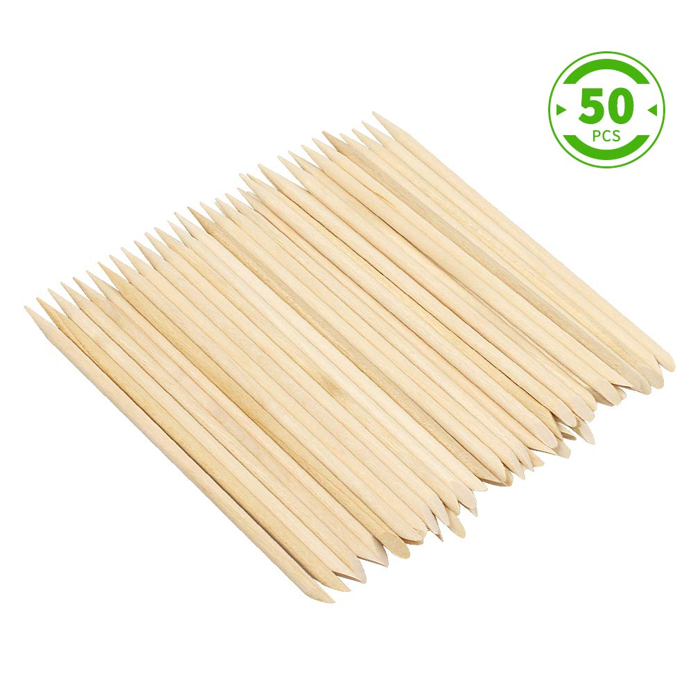 Green Convenience 50 Pcs Double Sided Orange Wood Nail Sticks Multi Functional Cuticle Pusher Remover Manicure Pedicure Tool Nail Art Accessories