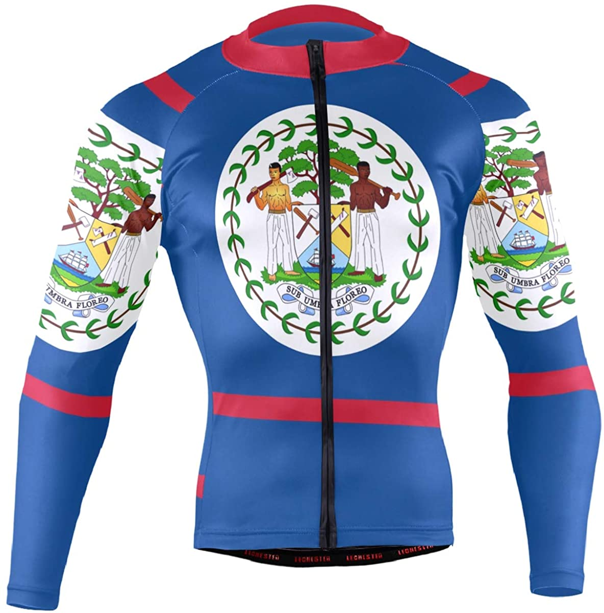 CHINEIN Men's Cycling Jersey Long Sleeve with 3 Rear Pockets Suit Belize Flag