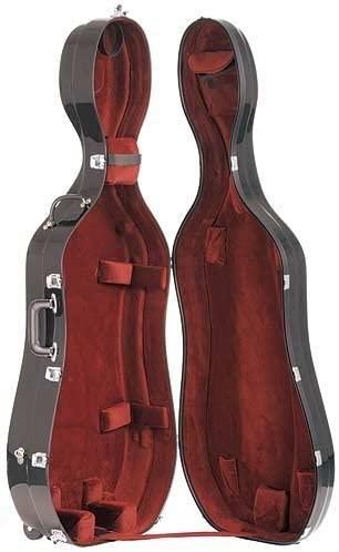 Bobelock 4/4 Cello Case Black/wine w/ Wheels Fiberglass Suspension