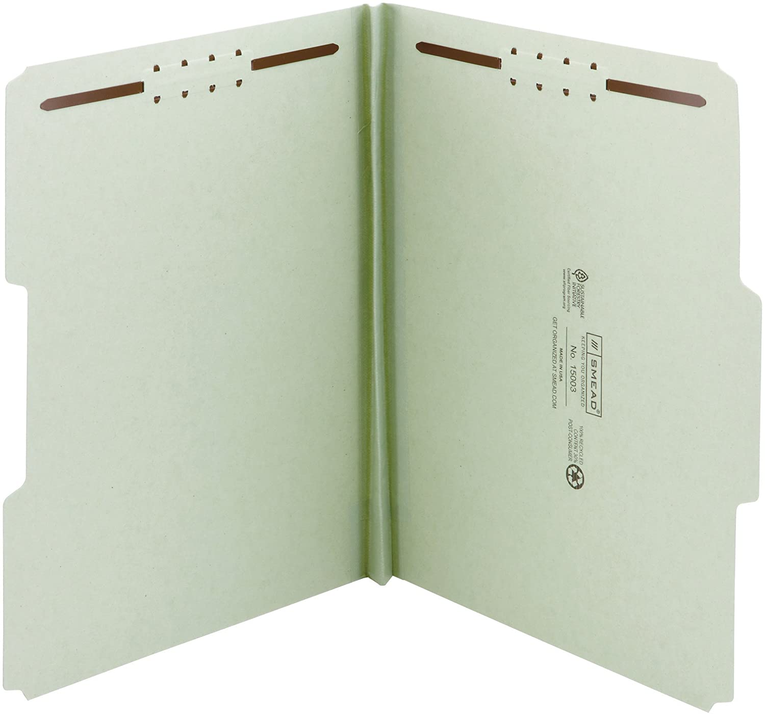 Smead 100% Recycled Pressboard Fastener File Folder, 2 Fasteners, 1/3-Cut Tab, 1 Expansion, Letter Size, Gray/Green, 25 per Box (15003)