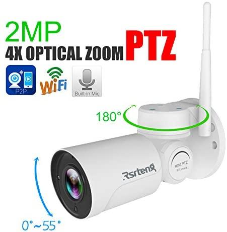 Rsrteng 2.0MP 4X Optical Zoom PTZ IP Security WiFi Cameras P2P Mobile APP Audio Built-in Mic H.264 Metal Shell IR Light Day/Night Outdoor 2.8-12mm 1920x1080 1080P Bullet TF Slot Pan/Tilt RST-HC204-W
