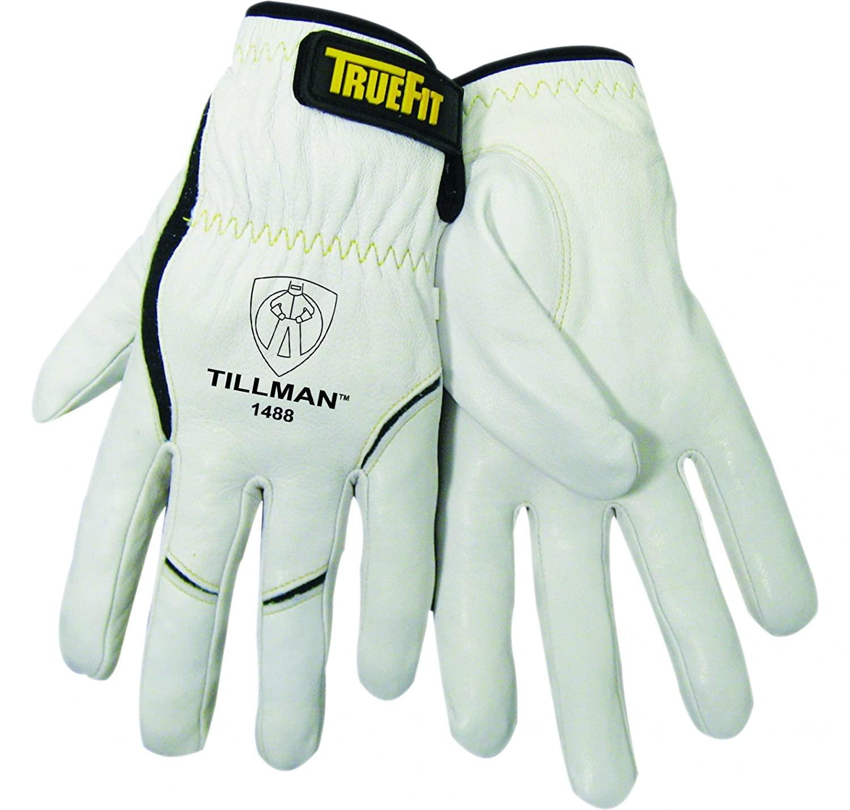 John Tillman 1488 M True Fit Medium Top Grain Kevlar/Goatskin Super Premium Grade TIG Welders' Glove with Elastic Cuff, V Design Thumb/Hook/Loop Closure, English, 15.34 Fl. Oz, Plastic, 1 x 12 x 5, Model:1488 M - MEDIUM