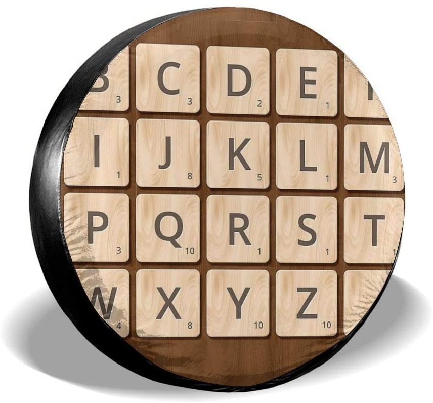 Bomini Spare Tire Covers Scrabble Alphabet in Wooden Wheel Waterproof SUV Campers Travel Rv Auto Trucks Accessories 14 15 16 17inch