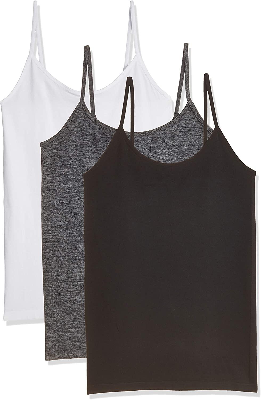 Women's Basic Layering Camisole Top Nylon Spandex Tank Top Cami Seamless Black White 3 Pack