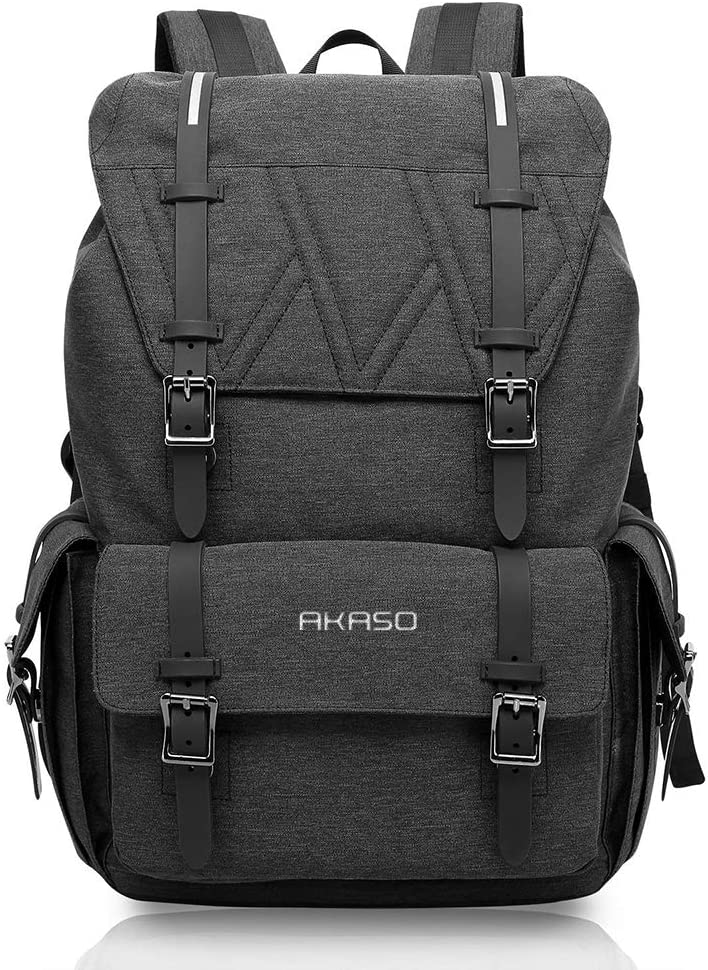 Travel Laptop Backpack - AKASO College School Backpack, Large Capacity Laptop Backpack for Men Women,Fits for up to 15.6 inch,Water Resistant with Magnetic Snap Closures