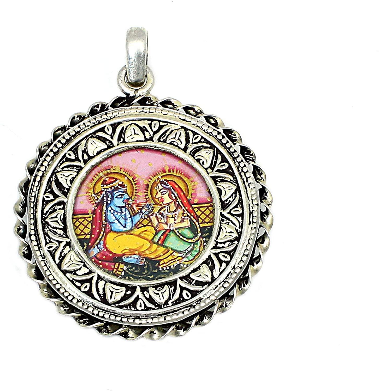 Shilpi Impex Lord Radha Krishna Handmade Painting 925 Silver Pendant