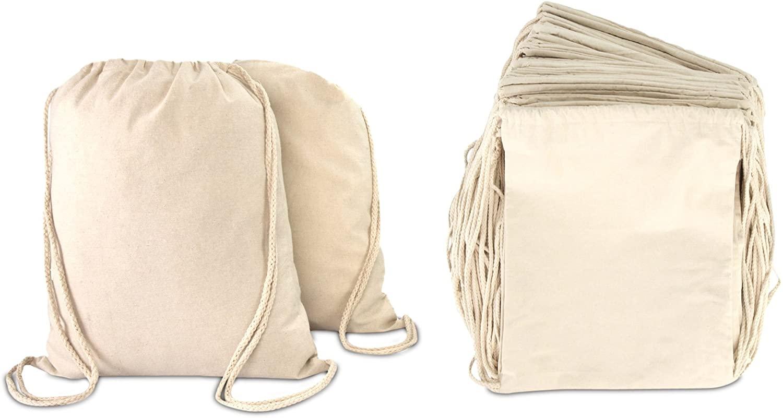 DALIX Canvas Drawstring Bag String Backpack Mens Womens Bulk Natural 12 Pack