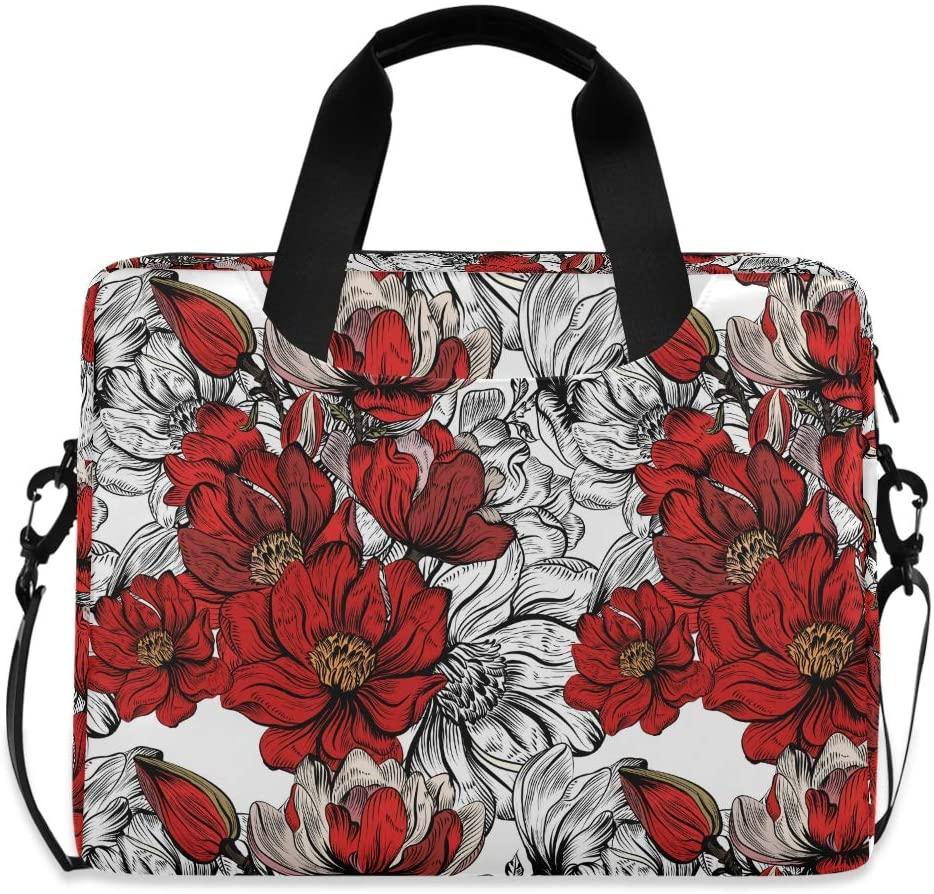 Laptop Bag Briefcase Shoulder Bag - Vintage Red Flower 15.6 Inch Tote Bag Laptop Messenger Shoulder Bag Case Notebook Bag, Great to Casual, Travel