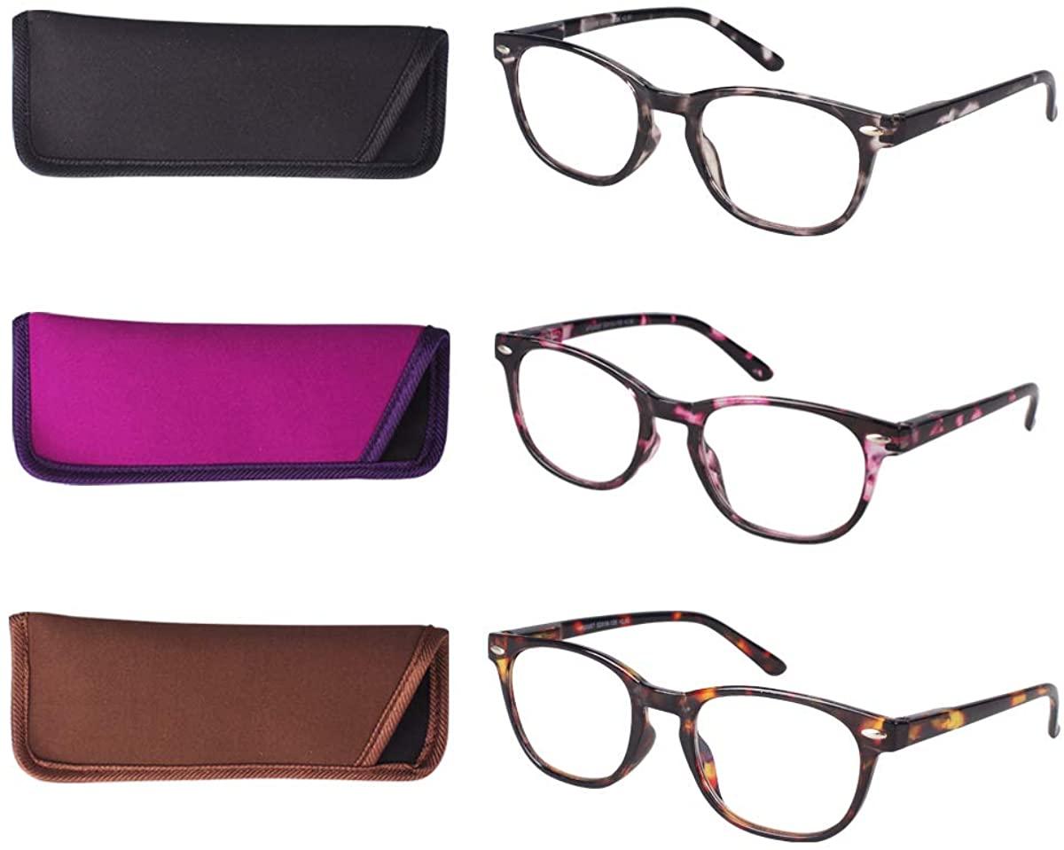 HINDAR PANDA 3 Pairs Reading Glasses Blue Light Blocking,Spring Hinge Readers for Women Tint Anti UV Digital Eyestrain