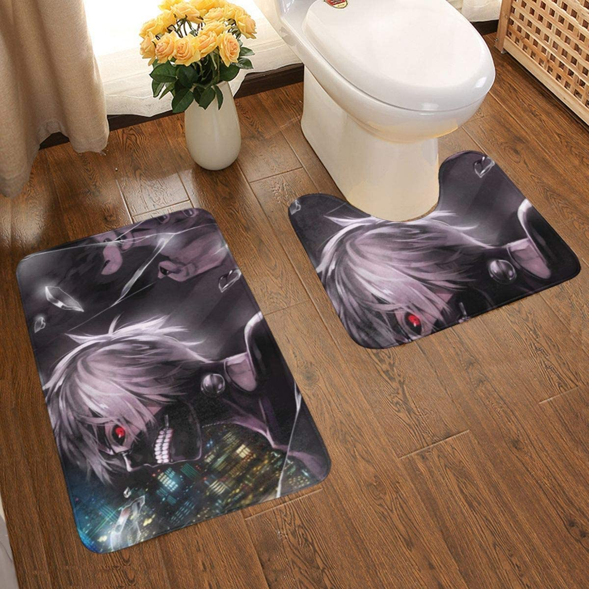 Tokyo Ghoul Bathroom Antiskid pad Soft Bath Rug Set Anti-Skid Bath Mat + U-Shaped Contour Bathroom Rug Mats Set 2 Piece