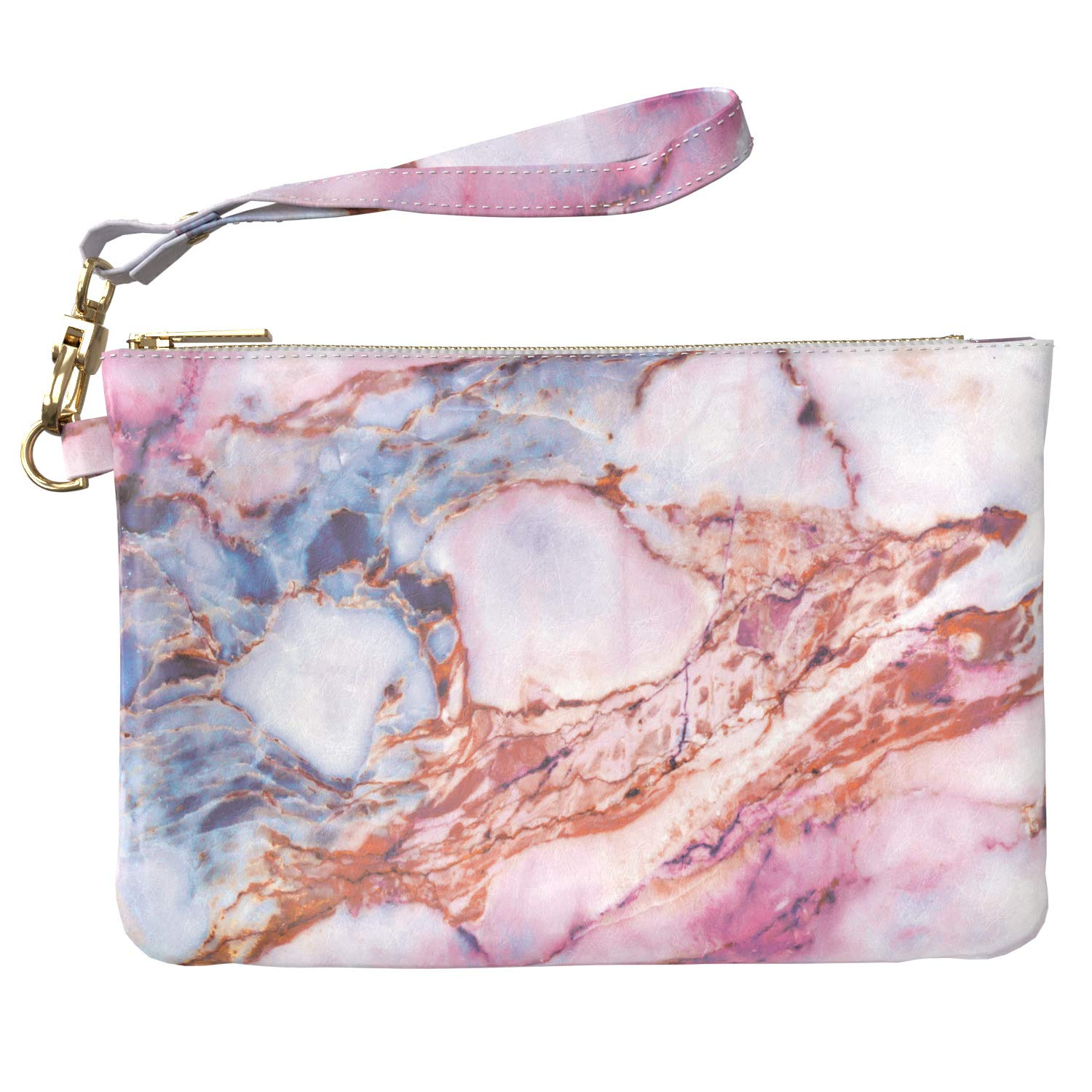 Lex Altern Makeup Bag 9.5 x 6 inch Aesthetic Pink Marble Stone Nature Colored Travel PU Leather Case Toiletry Women Zipper Organizer Storage Wristband Girly Accessories Print Purse Pouch Cosmetic