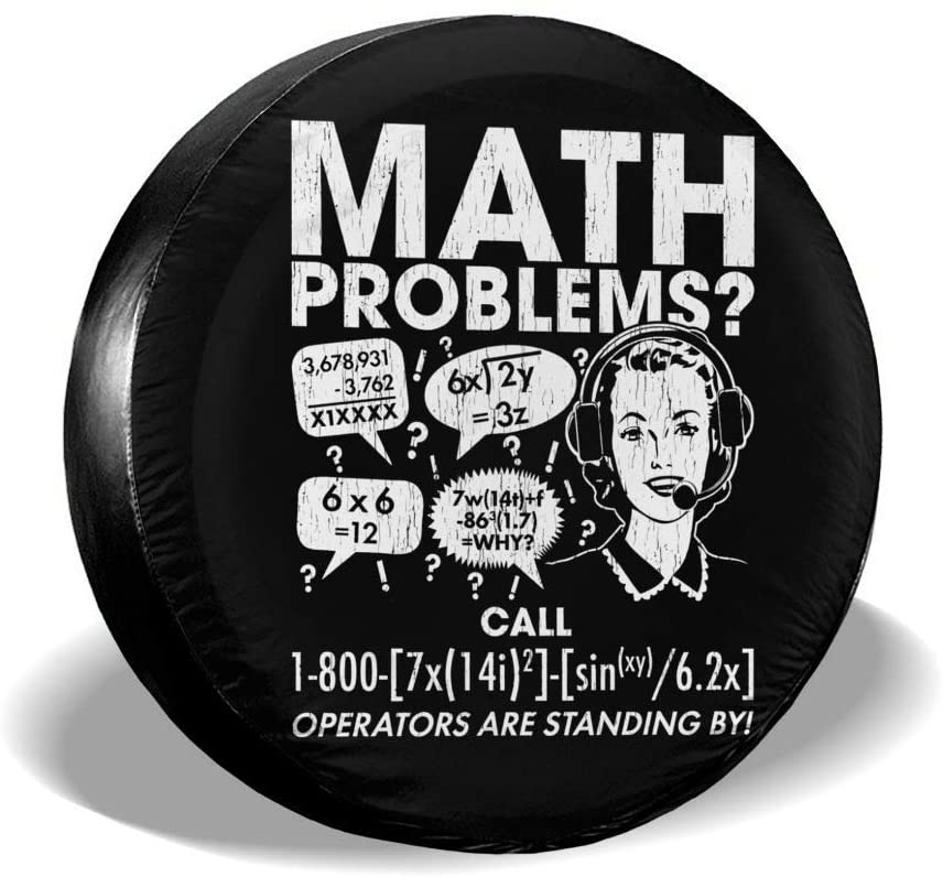 PSF Math Problems School Spare Tire Cover Waterproof and Dustproof Tire Protection 14-17 (in)