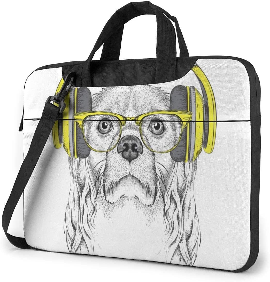 Hip-hop DJ Cocker Spaniel Dog in Glasses, Headphones Laptop Carrying Case Shoulder Bag Briefcase W/Strap Women Men 14