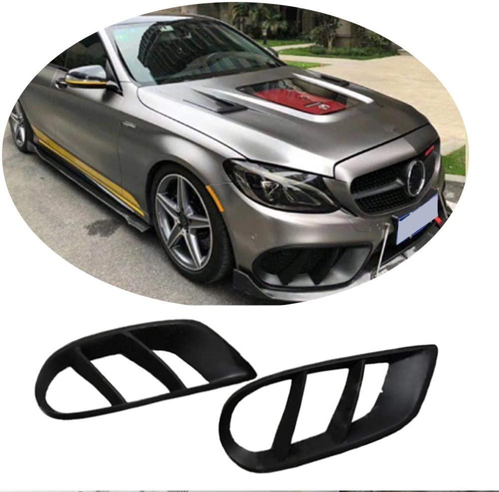 XTT Fog Lamp Grill Cover fits Mercedes Benz C Class W205 C205 A205 Sport C43 AMG 2015-2018 C200 C300 C350 C400 Front Bumper Light Grille Air Vent Trims (Matt Black Fiberglass FRP)