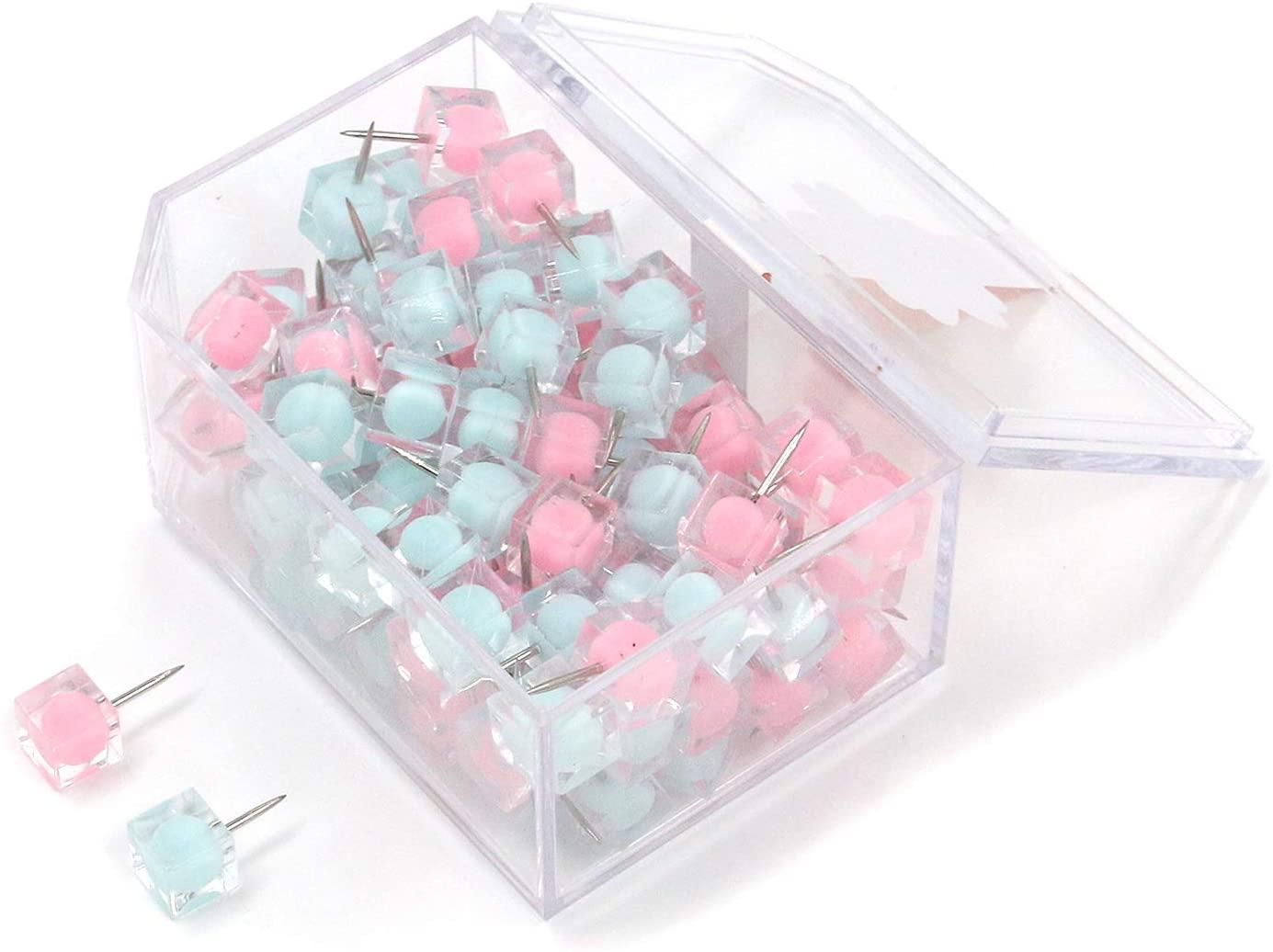 Quluxe 100 Pcs Colorful Transparent Square Tacks for Office, School, Home, Clear Colors Decorative Thumbtacks