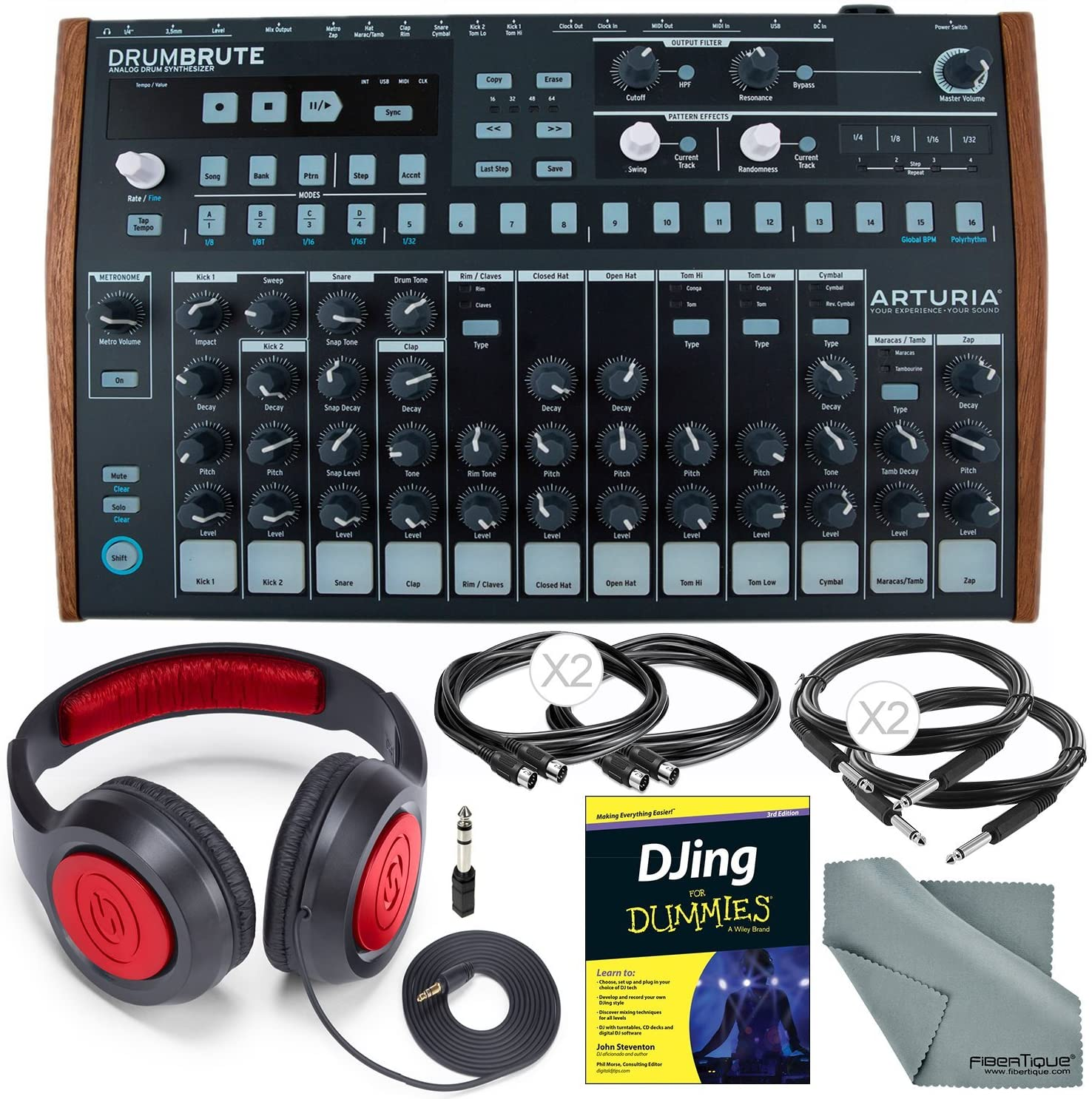 Arturia DrumBrute Analog Drum Machine and Deluxe Bundle w/Stereo Headphones + Djing for Dummies Guide + Cables + Fibertique Cloth