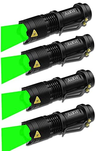 4 Pack Green Light Flashlight Single Mode 150 Yard Zoomable Torch For Fishing Hunting Detector