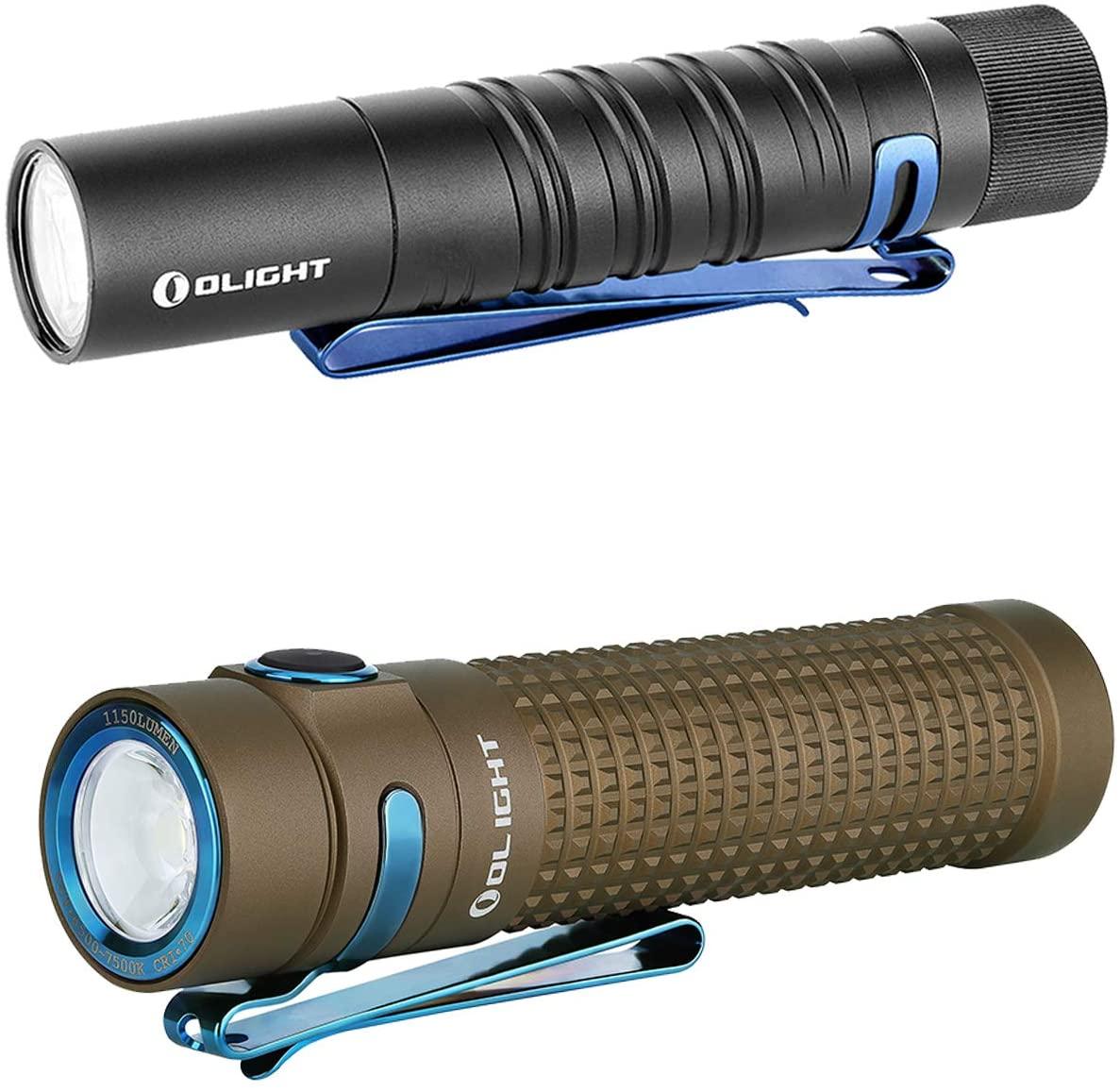 Olight I5T EOS 300 Lumens Slim EDC Tail Switch Flashlight Black, Bundle with S2R II Desert Tan Limited Edition 1150 Lumens Magnetic Rechargeable Flashligh