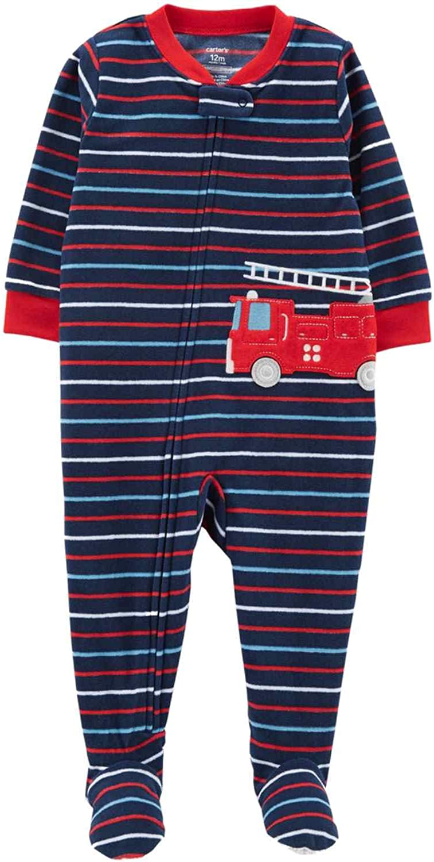 Carter's Infant & Toddler Boys Plush Blue Stripe Fire Truck Sleeper Pajama