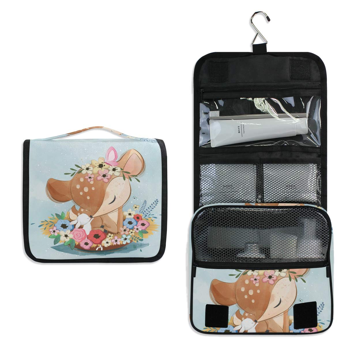 Hanging Travel Toiletry Bag - Cute Deer Waterproof Cosmetic Bag Portable Makeup Pouch for Women Girls Men