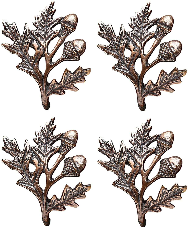 Harvest Bronzetone Acorn Oak 2 inch Copper Decorative Napkin Ring, Pack of 4