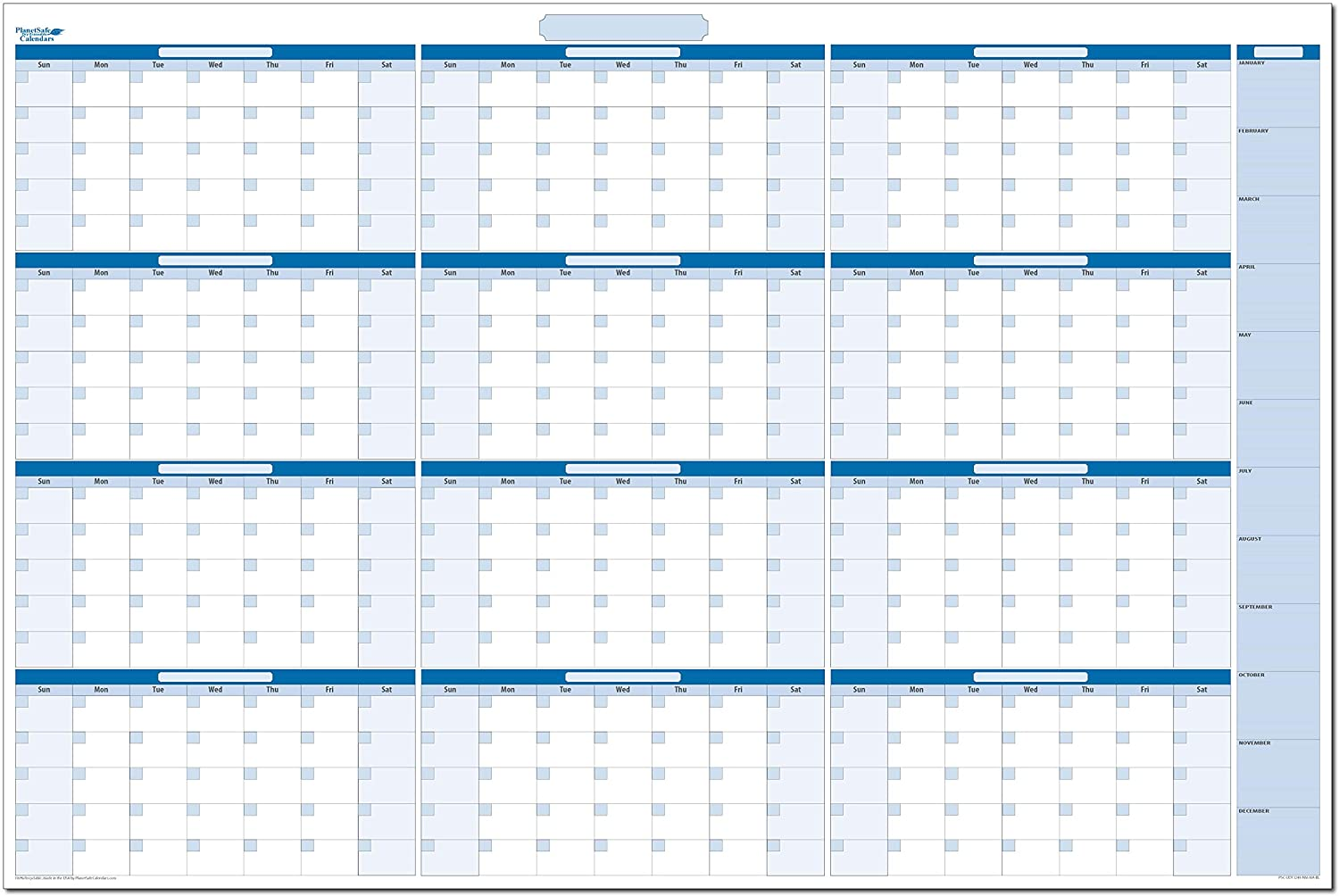 Sky Blue Large Undated Horizontal Yearly Dry-Erase Wall Calendar: No Months Listed - 32 in. x 48 in (BL-MA-NM)
