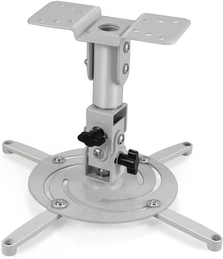 TNP Universal Projector Mount - Drop Ceiling LCD/DLP Video Projection Projector Mount Bracket Holder Plate with Extension Arm Pole, Tilt & Swivel Adjustable Bracket (Silver)