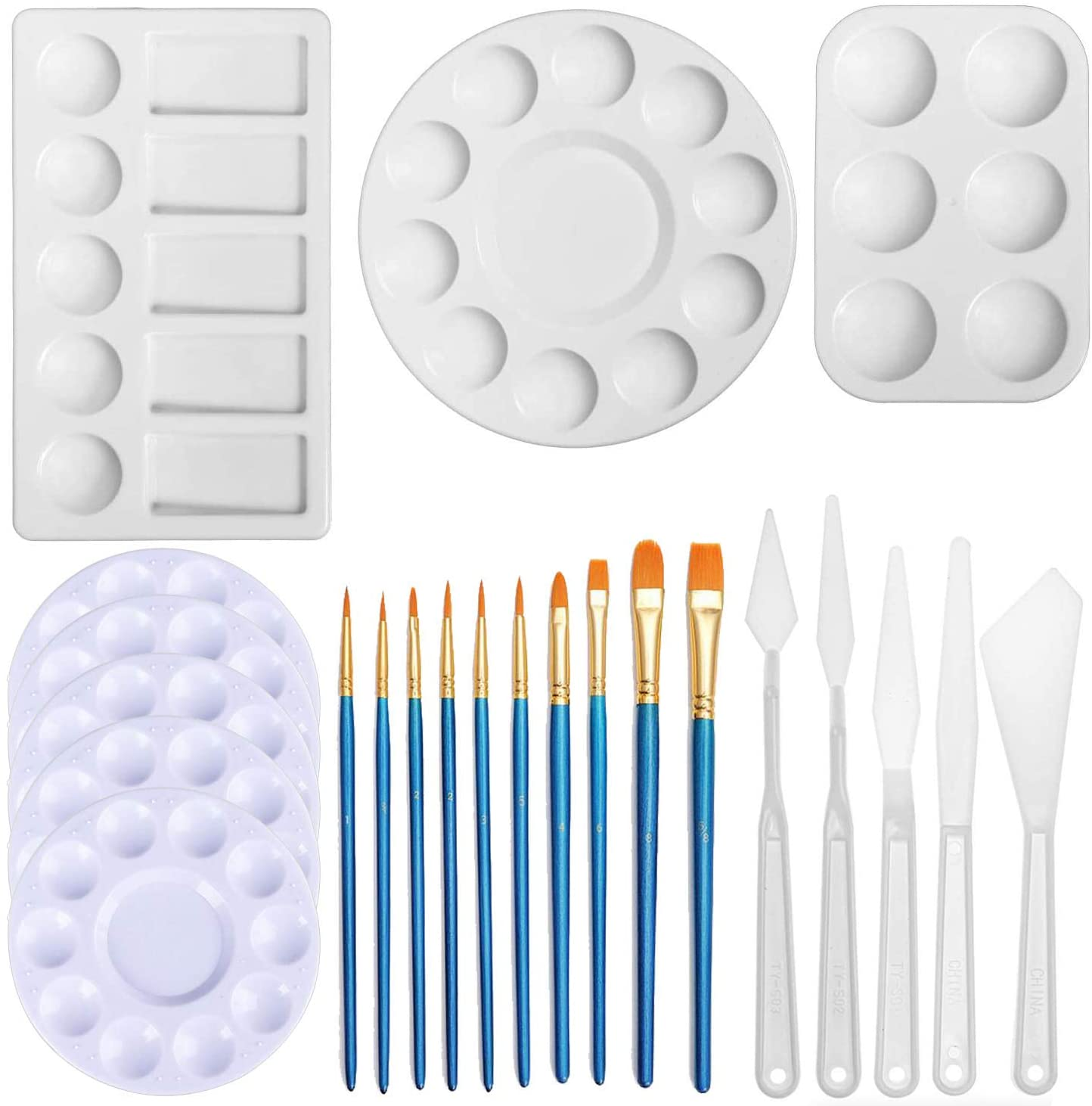 Seasonsky 23 PCS Paint Palette and Knife Tools Art Painting Sets, 10 PCS Paint Palette, 5 PCS Paint Knife and 10 PCS Brushes for Kids, Adults, Students to Acrylic Oil Watercolor Craft Supplies DIY