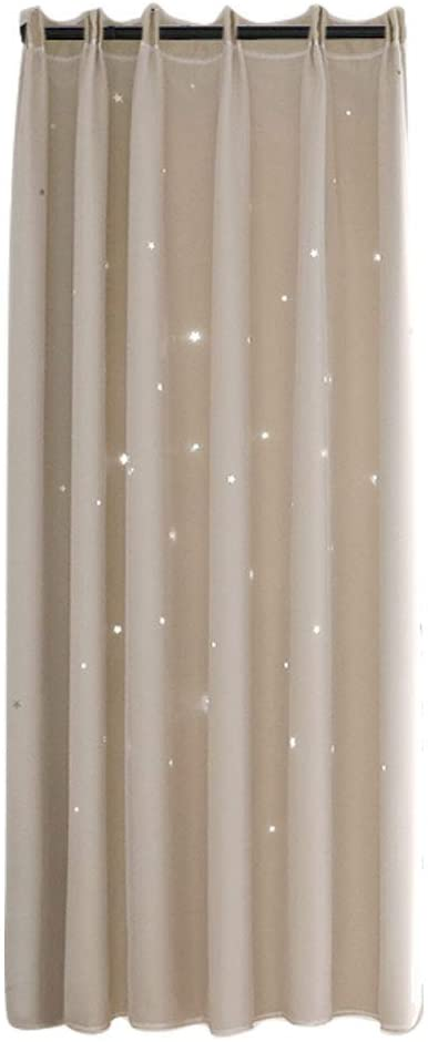Atyhao Curtains with Hollow Out Star Voile Tulle Curtain Sheer Panels Bedroom Living Room Decor Room Darkening Blackout Window Curtains (3#)