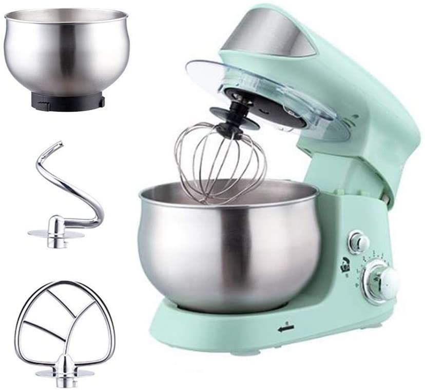 Kitchen Aid Stand Mixers for Baking Food Processor Mixer 3.5L Food Stand Mixer with Stainless Bowl, Beater, Hook, Whisk,Double bowl 600W 6-Speed Electric Dough Blender (Size : Double bowl)