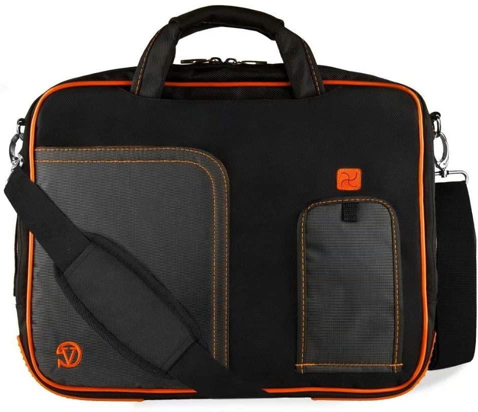 Hybrid Laptop Bag for Dell up to 16 inch (Black, Orange)