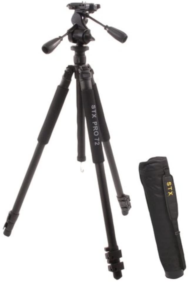 STX Pro 72 Tall Boy Tripod with 3 Way Pan/Tilt Head and Quick Release Plate, 74.5