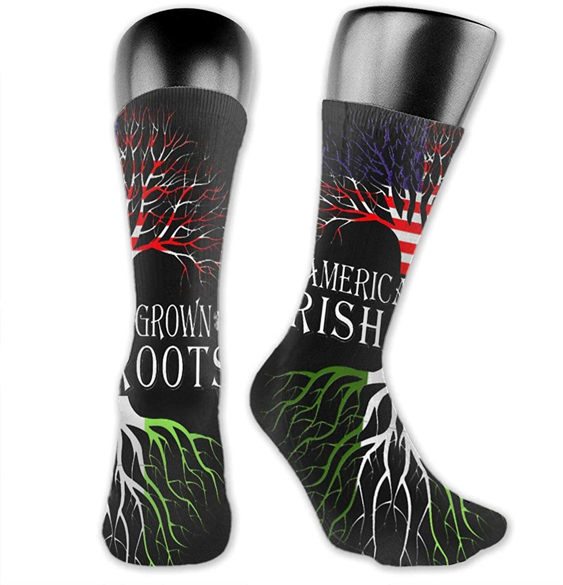 American Grown with Irish Roots Unisex Outdoor Long Socks Sport Athletic Crew Socks Stockings