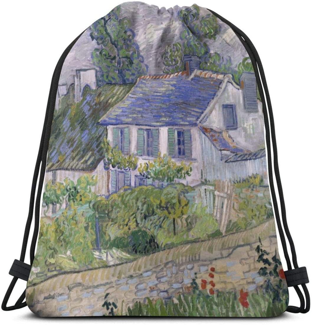 Backpack Drawstring Bags Cinch Sack String Bag Van Gogh Houses At Auvers 1890 Sackpack For Beach Sport Gym Travel Yoga Camping Shopping School Hiking Men Women
