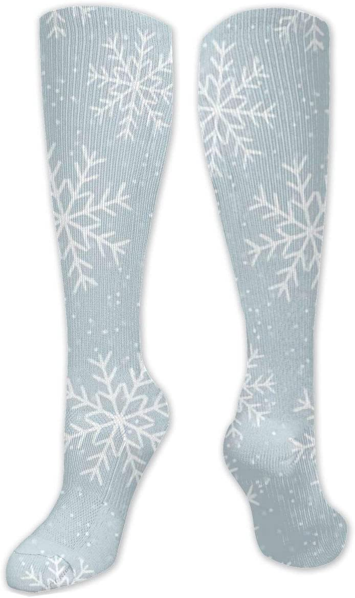Compression Sock for Women & Men,This is A Winter Snowflakes.Christmas Casual Long Knee High Tube Socks for Runnning, Soccer Athletic Sports,Travel -50cm