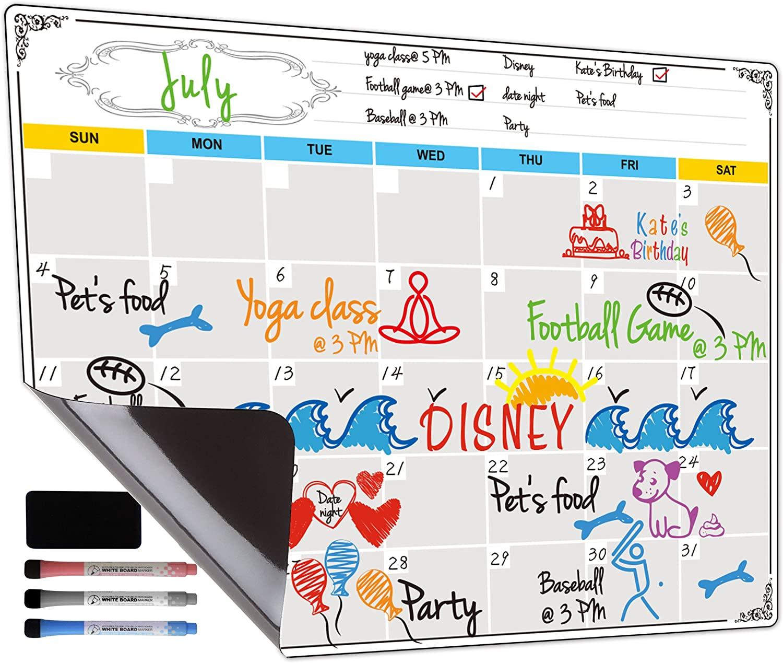 Dry Erase Calendar, Fridge Magnetic Calendar, White Board Planner for Refrigerator, Monthly & Weekly Set by Jancosta (MPB11)