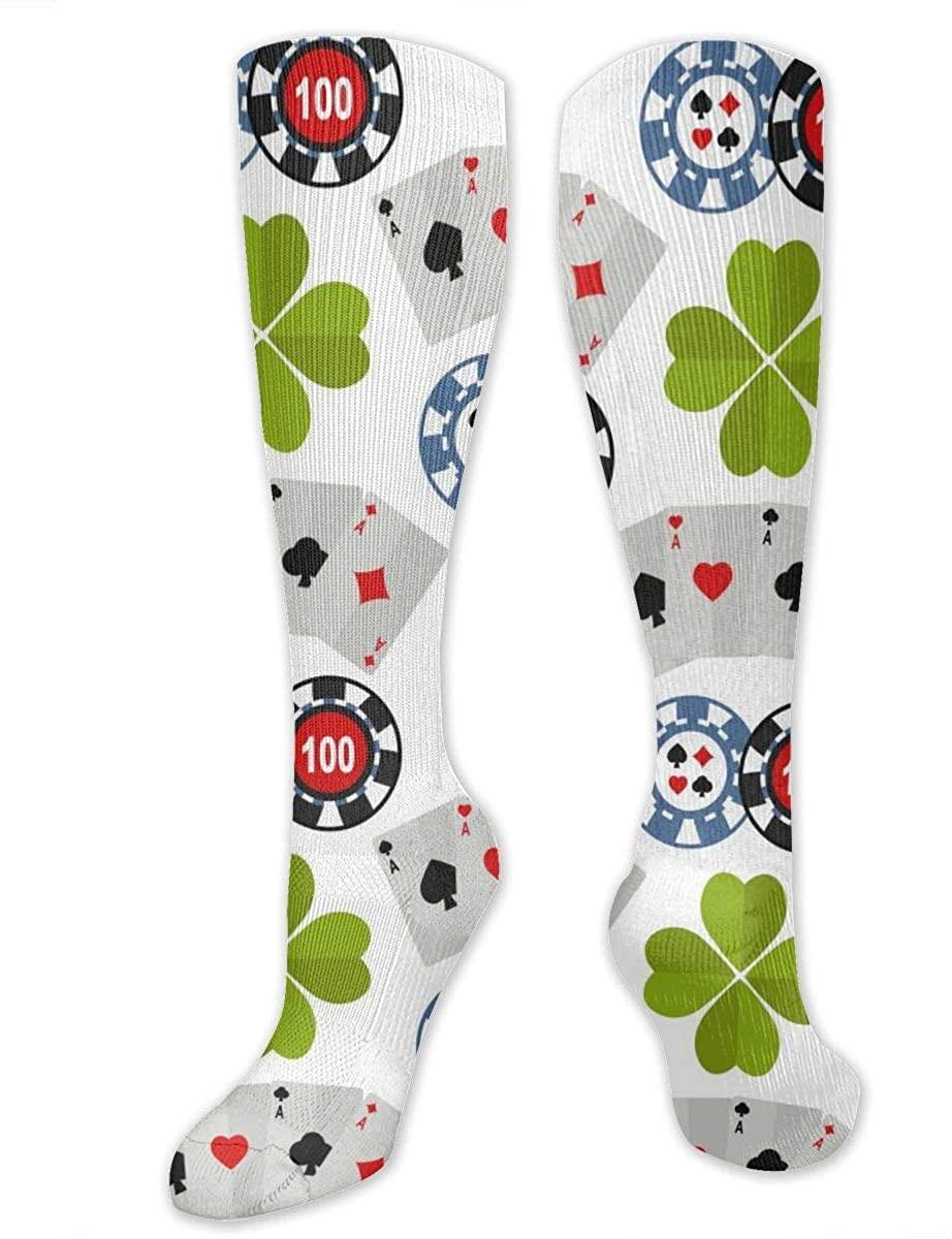 Casino Roulette Joker Athletic Socks Thigh Stockings Over Knee Leg High Socks