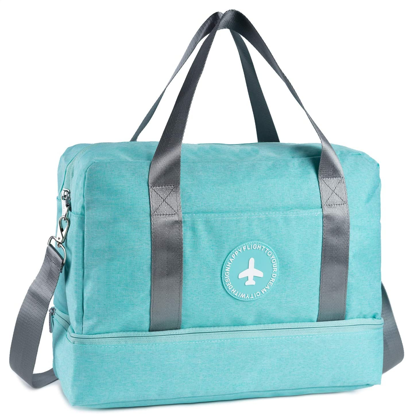 RoLekim Gym Totes Bag Gym Bag For Men and Women with Shoes Compartment Beach Bag Dry Wet Depart Swim Waterproof (Green 2way)