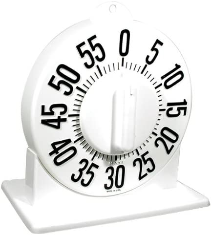Tactile Short Ring Low Vision Timer with Stand - White Dial
