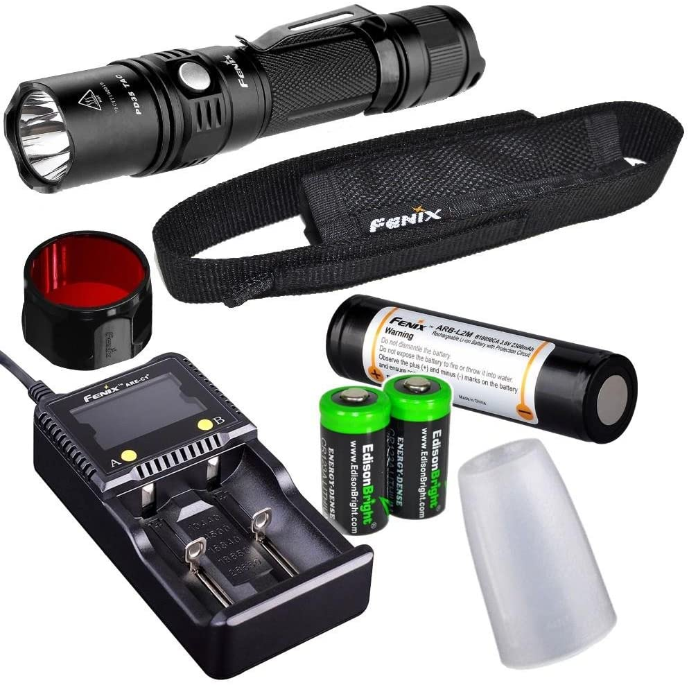 EdisonBright Fenix PD35 TAC 1000 Lumen CREE LED Tactical Flashlight with Fenix ARB-L2M 18650 Li-ion Rechargeable Battery, Diffuser, Red Filter, Smart Charger and 2 X CR123A Lithium Batteries Bundle