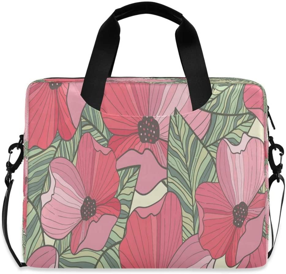 Laptop Bag Briefcase Shoulder Bag - Hand Drawn Poppy 15.6 Inch Tote Bag Laptop Messenger Shoulder Bag Case Notebook Bag, Great to Casual, School