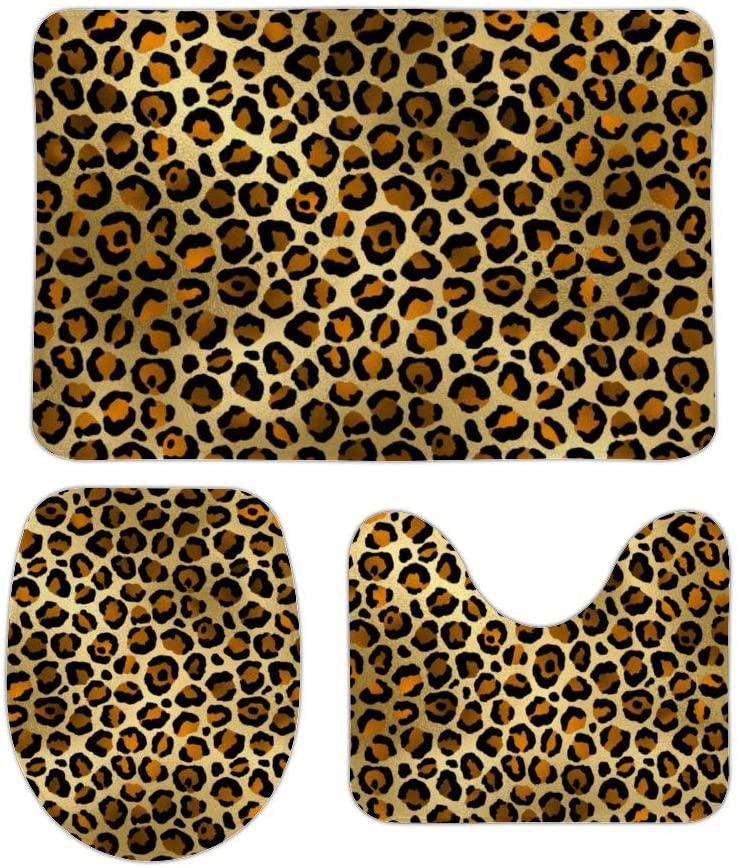 Stylish Gold Black Cheetah Leopard Print 3 Piece Bathroom Rug Set Bath Mat Shower Rug, U Shaped Contour Mat, Lid Cover Non-Slip with Rubber Backing Mats for Tub Shower Bath Room 16