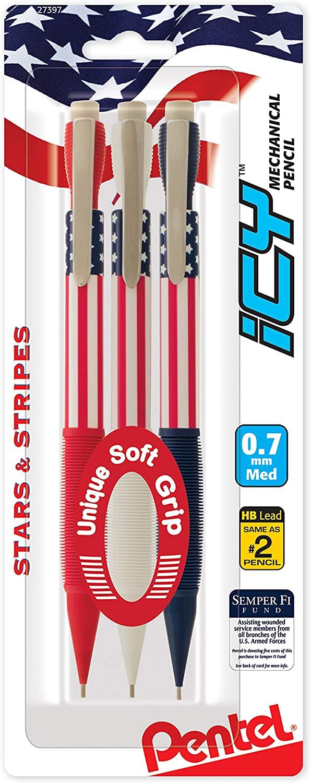 Icy Mechanical Pencil, (0.7mm) Medium Line, Flag Barrel, Assorted Grips (B/C/W), 3-PK
