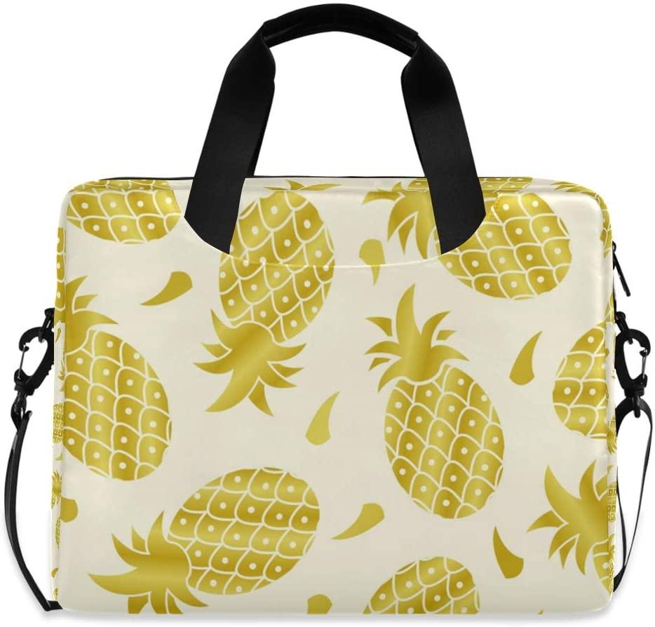 Laptop Bag Briefcase Shoulder Bag - Tropical Pineapple Golden Color 15.6 Inch Tote Bag Laptop Messenger Shoulder Bag Laptop Carrying Bag, Great to Casual