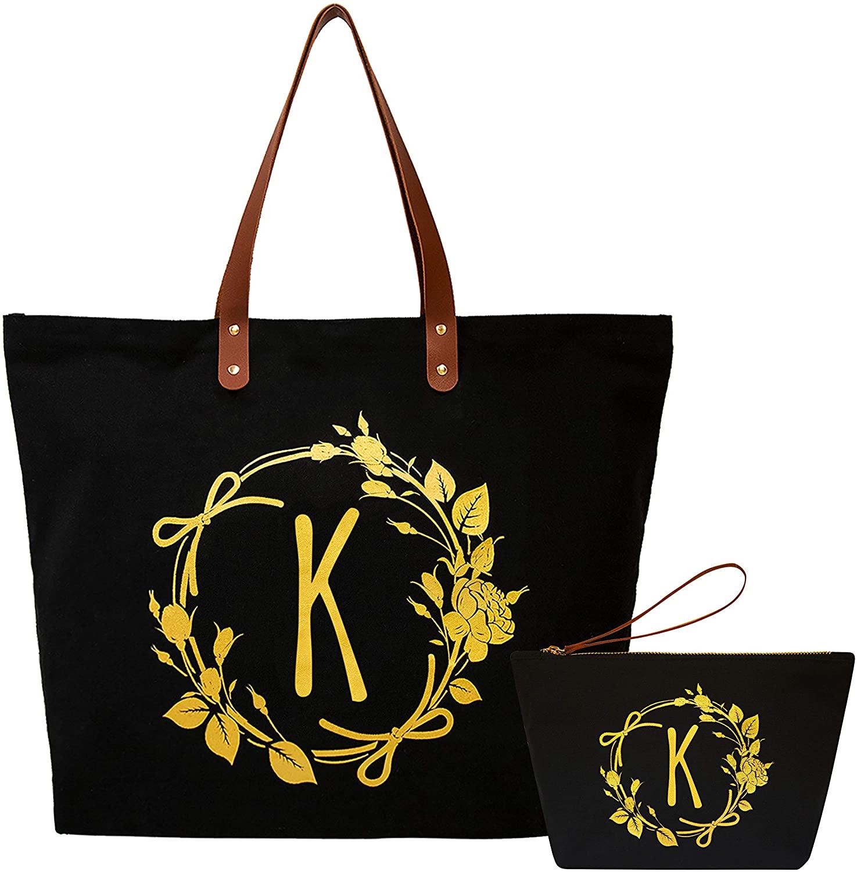 ElegantPark Monogrammed Gifts for Women K Initial Tote Bag Personalized Makeup Bag Wedding Gifts Birthday Teacher Gifts Bag Tote Cosmetic Bag Set of 2 Pcs Black