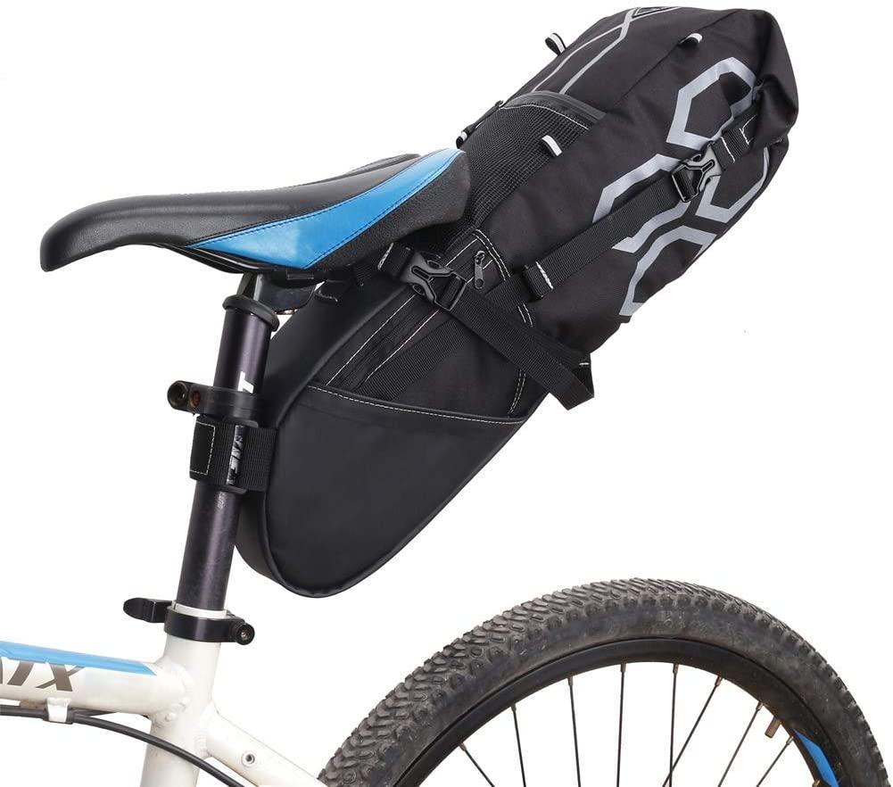 MHGLOVES Bike Rear Bag Bicycle Pannier Bag Saddle Bag Bicycle Rear Seat Bag Bike Carrier Trunk Bag Expandable MTB Bike Rack Bag, 12L (65X15.5X14cm)