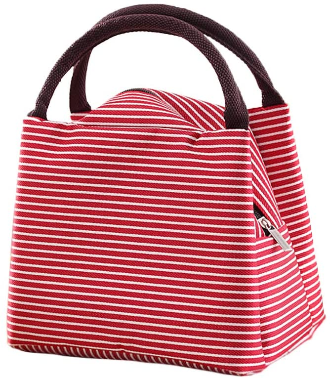 Enterest Lunch Bag for Men and Women Large Capacity Design Zipper Durable and Portable Healthy Aluminum Film Lunch Organizer (Red)