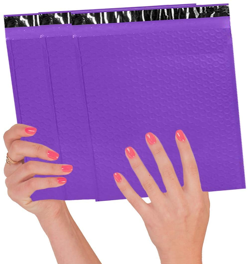 10 Pack Purple Poly Bubble mailers 8.5 x 11. Padded envelopes 8 1/2 x 11 Cushion envelopes. Peel and Seal. Top Quality laminated shipping bags for mailing, packing. Packaging in bulk, wholesale price.