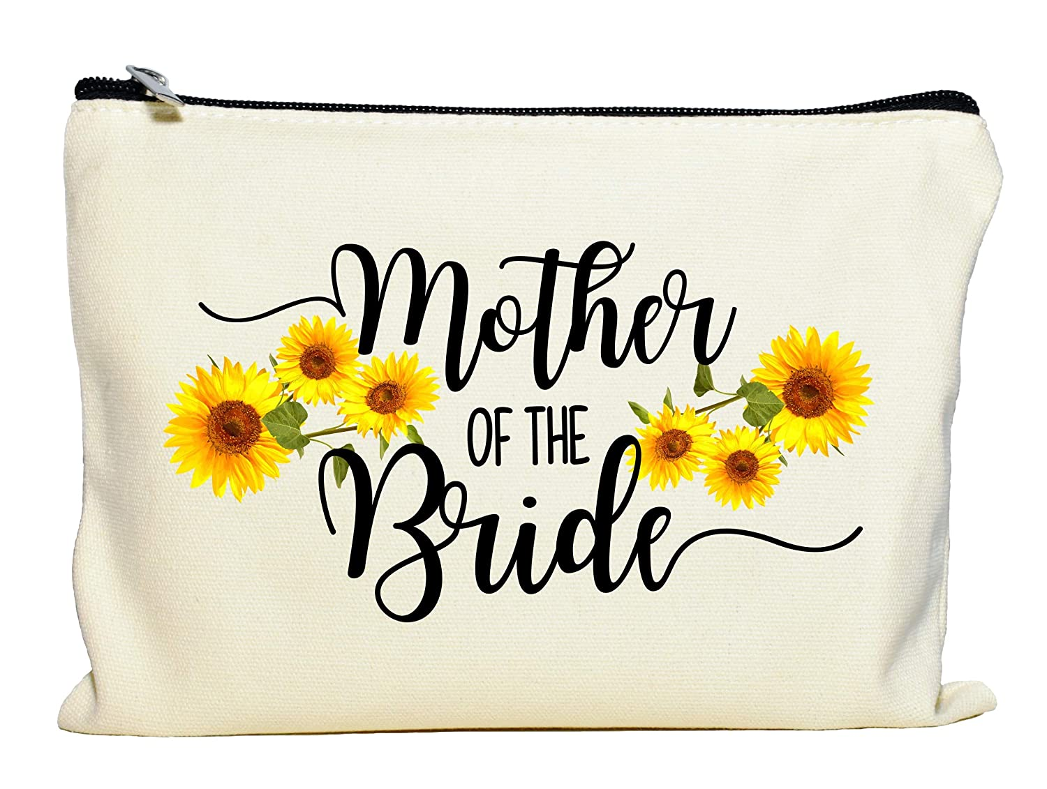 Mother Of The Bride Gift, Sunflower Makeup Bag, Bridal Party Gift, Mother of the Bride Clutch Bag, Cosmetic Pouch for Bride's Mother, Sunflower Wedding Gift