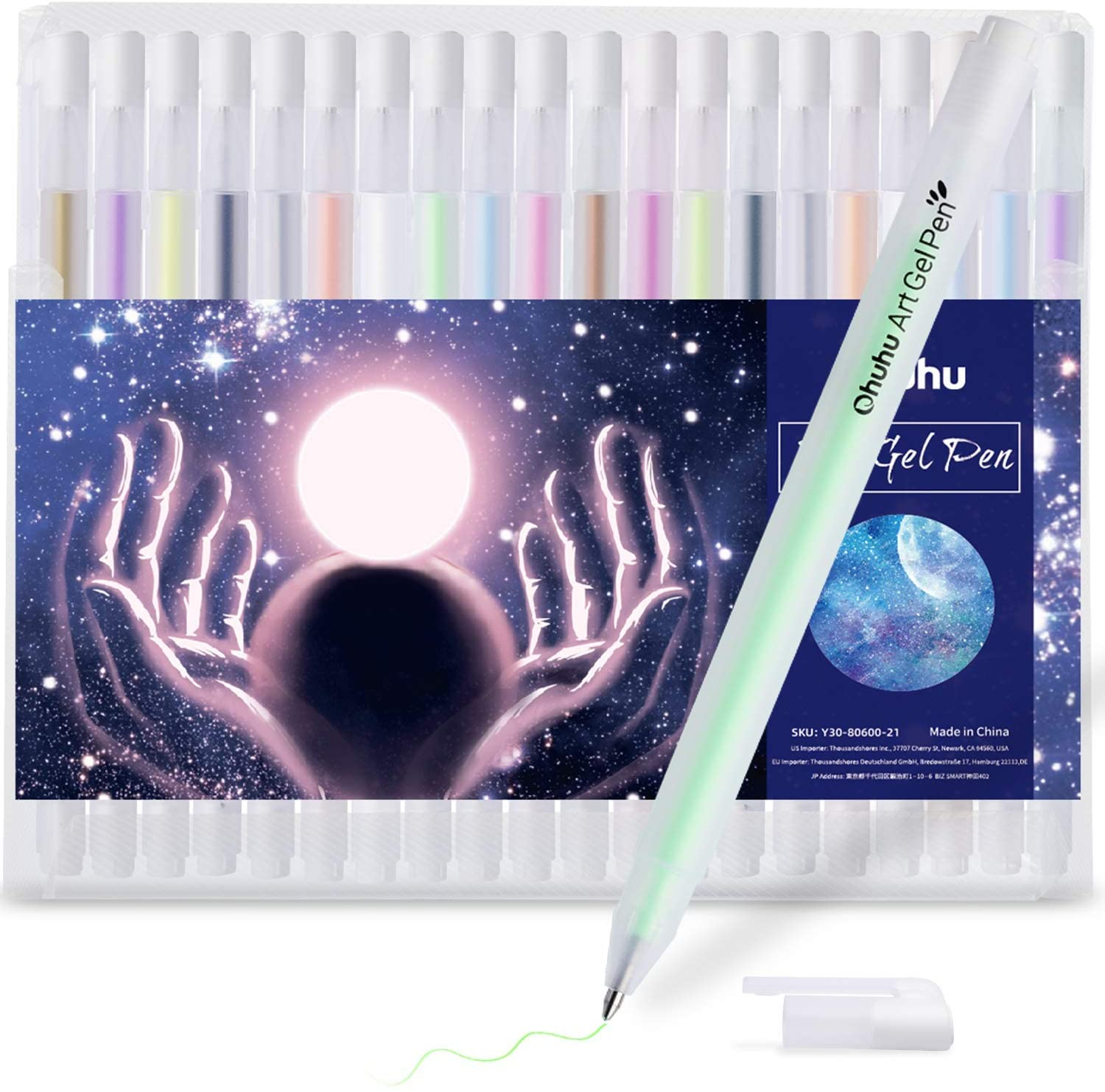 Gold Silver White Gel Pen Set for Artist, Ohuhu 10 Colors (20 Pack) Gel Ink Pens, White Pens for Highlighting on Markers Colored pencils Watercolor Paintings, Gel Paint Pens for Mothers Day Gift